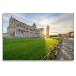 Premium Textil-Leinwand 120 x 80 cm Quer-Format Sonnenaufgang in Pisa | Wandbild, HD-Bild auf Keilrahmen, Fertigbild auf hochwertigem Vlies, Leinwanddruck von Michael Valjak