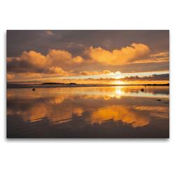 Premium Textil-Leinwand 120 x 80 cm Quer-Format Sonnenuntergang am Plage de Kerhillio   Wandbild, HD-Bild auf Keilrahmen, Fertigbild auf hochwertigem Vlies, Leinwanddruck von Etienne Benoît