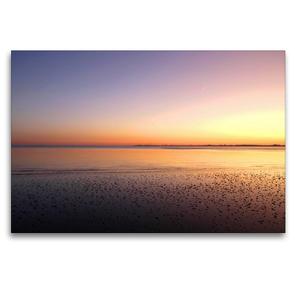 Premium Textil-Leinwand 120 x 80 cm Quer-Format Sonnenuntergang im Wattenmeer | Wandbild, HD-Bild auf Keilrahmen, Fertigbild auf hochwertigem Vlies, Leinwanddruck von Steffani Lehmann