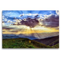 Premium Textil-Leinwand 120 x 80 cm Quer-Format Sonnenuntergang über den Bergen | Wandbild, HD-Bild auf Keilrahmen, Fertigbild auf hochwertigem Vlies, Leinwanddruck von Stefan Widerstein – SteWi.info