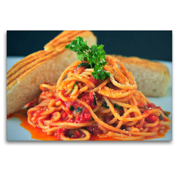 Premium Textil-Leinwand 120 x 80 cm Quer-Format Spaghetti all' arrabbiata | Wandbild, HD-Bild auf Keilrahmen, Fertigbild auf hochwertigem Vlies, Leinwanddruck von Rose Hurley