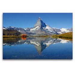 Premium Textil-Leinwand 120 x 80 cm Quer-Format Spieglein, Spieglein….Das doppelte Matterhorn | Wandbild, HD-Bild auf Keilrahmen, Fertigbild auf hochwertigem Vlies, Leinwanddruck von Susan Michel