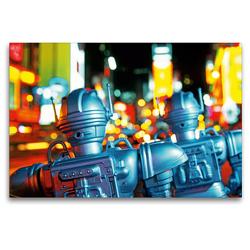 Premium Textil-Leinwand 120 x 80 cm Quer-Format Spielzeugroboter auf dem Times Square, New York City, USA | Wandbild, HD-Bild auf Keilrahmen, Fertigbild auf hochwertigem Vlies, Leinwanddruck von CALVENDO