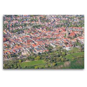 Premium Textil-Leinwand 120 x 80 cm Quer-Format Stadtzentrum Jüterbog (Luftbild) | Wandbild, HD-Bild auf Keilrahmen, Fertigbild auf hochwertigem Vlies, Leinwanddruck von Mario Hagen