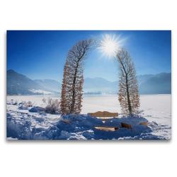 Premium Textil-Leinwand 120 x 80 cm Quer-Format Stille Rast mit Aussicht auf die Winterlandschaft Schliersee Oberbayern   Wandbild, HD-Bild auf Keilrahmen, Fertigbild auf hochwertigem Vlies, Leinwanddruck von SusaZoom