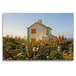 Premium Textil-Leinwand 120 x 80 cm Quer-Format Strandhaus Atlantik | Wandbild, HD-Bild auf Keilrahmen, Fertigbild auf hochwertigem Vlies, Leinwanddruck von Georg Arnold