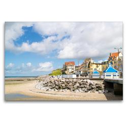 Premium Textil-Leinwand 120 x 80 cm Quer-Format Strandpromenade von Wimereux | Wandbild, HD-Bild auf Keilrahmen, Fertigbild auf hochwertigem Vlies, Leinwanddruck von DannyTchi
