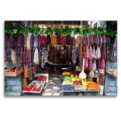 Premium Textil-Leinwand 120 x 80 cm Quer-Format Straßenverkäufer in Tiflis | Wandbild, HD-Bild auf Keilrahmen, Fertigbild auf hochwertigem Vlies, Leinwanddruck von Michael Stuetzle