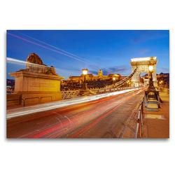 Premium Textil-Leinwand 120 x 80 cm Quer-Format Széchenyi Chain Bridge (Budapest-Ungarn) | Wandbild, HD-Bild auf Keilrahmen, Fertigbild auf hochwertigem Vlies, Leinwanddruck von TJPhotography