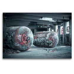 Premium Textil-Leinwand 120 x 80 cm Quer-Format Tanks in Fabrikshalle verlassen | Wandbild, HD-Bild auf Keilrahmen, Fertigbild auf hochwertigem Vlies, Leinwanddruck von Gerd Matschek