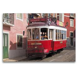 Premium Textil-Leinwand 120 x 80 cm Quer-Format Typische Rote Straßenbahn vor bunten Fassaden in Lissabon, Portugal | Wandbild, HD-Bild auf Keilrahmen, Fertigbild auf hochwertigem Vlies, Leinwanddruck von Marion Meyer © Stimmungsbilder1