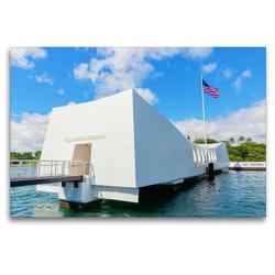 Premium Textil-Leinwand 120 x 80 cm Quer-Format U.S.S. Arizona Memorial in Pearl Harbor | Wandbild, HD-Bild auf Keilrahmen, Fertigbild auf hochwertigem Vlies, Leinwanddruck von Christian Müller