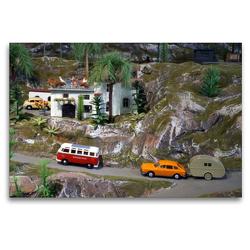 Premium Textil-Leinwand 120 x 80 cm Quer-Format Unterwegs mit Kleinbus und Wohnwagen | Wandbild, HD-Bild auf Keilrahmen, Fertigbild auf hochwertigem Vlies, Leinwanddruck von Klaus-Peter Huschka
