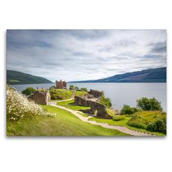 Premium Textil-Leinwand 120 x 80 cm Quer-Format Urquhart Castle, Loch Ness   Wandbild, HD-Bild auf Keilrahmen, Fertigbild auf hochwertigem Vlies, Leinwanddruck von Harald Schnitzler
