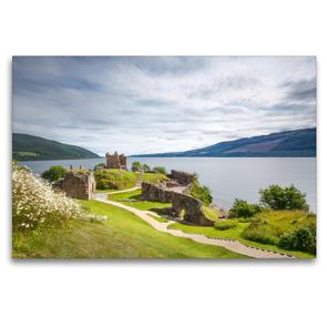 Premium Textil-Leinwand 120 x 80 cm Quer-Format Urquhart Castle, Loch Ness | Wandbild, HD-Bild auf Keilrahmen, Fertigbild auf hochwertigem Vlies, Leinwanddruck von Harald Schnitzler
