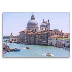 Premium Textil-Leinwand 120 x 80 cm Quer-Format Venedig, Canal Grande mit Santa Maria della Salute | Wandbild, HD-Bild auf Keilrahmen, Fertigbild auf hochwertigem Vlies, Leinwanddruck von Hanna Wagner