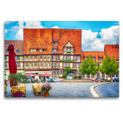Premium Textil-Leinwand 120 x 80 cm Quer-Format Vor dem Mathildenbrunnen in der Neustadt in Quedlinburg, die vor den Mauern der Altstadt um 1200 entstand. | Wandbild, HD-Bild auf Keilrahmen, Fertigbild auf hochwertigem Vlies, Leinwanddruck von Ulrich Männel studio-fifty-five