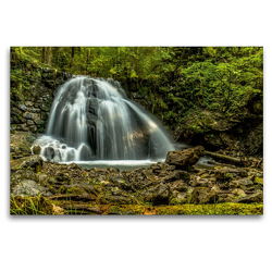 Premium Textil-Leinwand 120 x 80 cm Quer-Format Wasserfall bei Oberstdorf | Wandbild, HD-Bild auf Keilrahmen, Fertigbild auf hochwertigem Vlies, Leinwanddruck von Michael Wenk