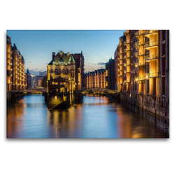 Premium Textil-Leinwand 120 x 80 cm Quer-Format Wasserschloss Hamburg | Wandbild, HD-Bild auf Keilrahmen, Fertigbild auf hochwertigem Vlies, Leinwanddruck von Michael Valjak