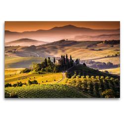 Premium Textil-Leinwand 120 x 80 cm Quer-Format Weinanbaugebiet und Landschaft in der Toskana | Wandbild, HD-Bild auf Keilrahmen, Fertigbild auf hochwertigem Vlies, Leinwanddruck von Elisabeth Stanzer