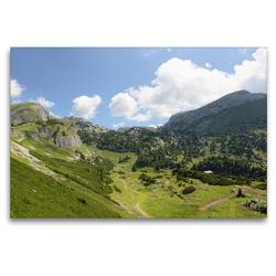 Premium Textil-Leinwand 120 x 80 cm Quer-Format Weitblick im Rofan mit seinen Alpwiesen und Bergen | Wandbild, HD-Bild auf Keilrahmen, Fertigbild auf hochwertigem Vlies, Leinwanddruck von Anja Frost