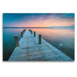 Premium Textil-Leinwand 120 x 80 cm Quer-Format Winter am See | Wandbild, HD-Bild auf Keilrahmen, Fertigbild auf hochwertigem Vlies, Leinwanddruck von Martin Wasilewski