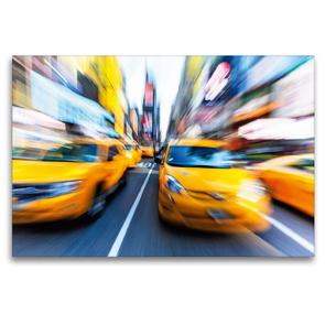 Premium Textil-Leinwand 120 x 80 cm Quer-Format Yellow Cabs brausen durch die Strassen von New York | Wandbild, HD-Bild auf Keilrahmen, Fertigbild auf hochwertigem Vlies, Leinwanddruck von CALVENDO