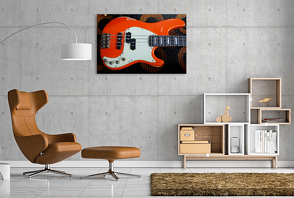 Premium Textil-Leinwand 1200 x 800 cm Quer-Format Bassgitarre – Aged E-Bass | Wandbild, HD-Bild auf Keilrahmen, Fertigbild auf hochwertigem Vlies, Leinwanddruck von Renate Utz