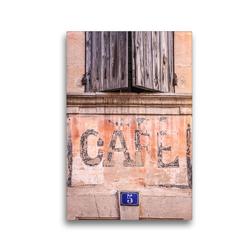 Premium Textil-Leinwand 30 x 45 cm Hoch-Format Cafe im Dorf Bonnieux, Luberon, Provence, Frankreich   Wandbild, HD-Bild auf Keilrahmen, Fertigbild auf hochwertigem Vlies, Leinwanddruck von Christian Müringer