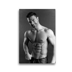 Premium Textil-Leinwand 30 x 45 cm Hoch-Format Aber hallo! Sportlicher junger Mann mit muskulösem Oberkörper | Wandbild, HD-Bild auf Keilrahmen, Fertigbild auf hochwertigem Vlies, Leinwanddruck von CALVENDO