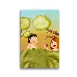 Premium Textil-Leinwand 30 x 45 cm Hoch-Format Adam und Eva im Garten Eden | Wandbild, HD-Bild auf Keilrahmen, Fertigbild auf hochwertigem Vlies, Leinwanddruck von Stephanie Langowski
