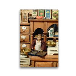 Premium Textil-Leinwand 30 x 45 cm Hoch-Format Alter Kaufmannsladen | Wandbild, HD-Bild auf Keilrahmen, Fertigbild auf hochwertigem Vlies, Leinwanddruck von WEIBKIWI