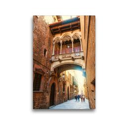 Premium Textil-Leinwand 30 x 45 cm Hoch-Format Gasse in Barcelona, Spanien   Wandbild, HD-Bild auf Keilrahmen, Fertigbild auf hochwertigem Vlies, Leinwanddruck von Christian Müller