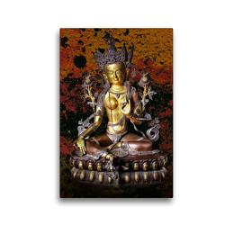 Premium Textil-Leinwand 30 x 45 cm Hoch-Format Grüne Tara, der weibliche Buddha des Mitgefühls | Wandbild, HD-Bild auf Keilrahmen, Fertigbild auf hochwertigem Vlies, Leinwanddruck von Bernd Maertens