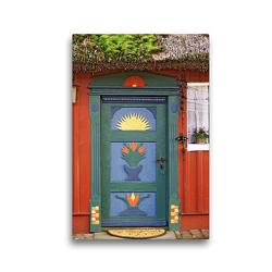 Premium Textil-Leinwand 30 x 45 cm Hoch-Format Haustür in Prerow | Wandbild, HD-Bild auf Keilrahmen, Fertigbild auf hochwertigem Vlies, Leinwanddruck von Veronika Rix