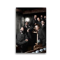 Premium Textil-Leinwand 30 x 45 cm Hoch-Format Herren beim Kegelabend um 1895 | Wandbild, HD-Bild auf Keilrahmen, Fertigbild auf hochwertigem Vlies, Leinwanddruck von André Tetsch