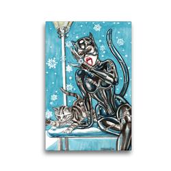 Premium Textil-Leinwand 30 x 45 cm Hoch-Format Katzen im Schnee. Catwoman in snow. The most wanted girls! | Wandbild, HD-Bild auf Keilrahmen, Fertigbild auf hochwertigem Vlies, Leinwanddruck von Sara Horwath Burlesqe up your wall