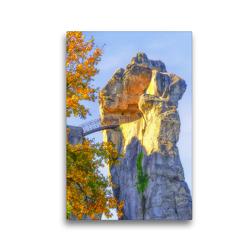 Premium Textil-Leinwand 30 x 45 cm Hoch-Format Mysteriöser Charme vom 40Meter hohen Sandsteinfelsen , Externsteine | Wandbild, HD-Bild auf Keilrahmen, Fertigbild auf hochwertigem Vlies, Leinwanddruck von Bettina Hackstein