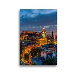 Premium Textil-Leinwand 30 x 45 cm Hoch-Format Nacht über Edinburgh | Wandbild, HD-Bild auf Keilrahmen, Fertigbild auf hochwertigem Vlies, Leinwanddruck von Christian Müller