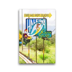 Premium Textil-Leinwand 30 x 45 cm Hoch-Format Schild am Ortseingang von Haleiwa auf Oahu, Hawaii | Wandbild, HD-Bild auf Keilrahmen, Fertigbild auf hochwertigem Vlies, Leinwanddruck von Christian Müller