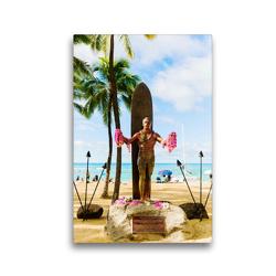 Premium Textil-Leinwand 30 x 45 cm Hoch-Format Statue von Duke Kahanamoku, dem Vater des modernen Surfens   Wandbild, HD-Bild auf Keilrahmen, Fertigbild auf hochwertigem Vlies, Leinwanddruck von Christian Müller