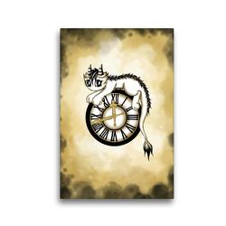Premium Textil-Leinwand 30 x 45 cm Hoch-Format Zeitdrache | Wandbild, HD-Bild auf Keilrahmen, Fertigbild auf hochwertigem Vlies, Leinwanddruck von Pezi Creation / Petra Haberhauer