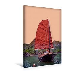 Premium Textil-Leinwand 300 x 450 cm Hoch-Format Traditionelle Dschunke in der Bucht | Wandbild, HD-Bild auf Keilrahmen, Fertigbild auf hochwertigem Vlies, Leinwanddruck von Joern Stegen