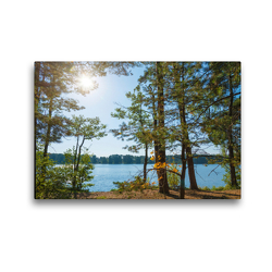 Premium Textil-Leinwand 45 x 30 cm Quer-Format Abend am Sidowsee   Wandbild, HD-Bild auf Keilrahmen, Fertigbild auf hochwertigem Vlies, Leinwanddruck von Kerstin Waurick