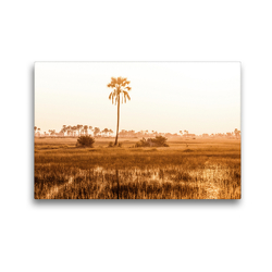 Premium Textil-Leinwand 45 x 30 cm Quer-Format Afrikanischer Sumpf bei Dämmerung | Wandbild, HD-Bild auf Keilrahmen, Fertigbild auf hochwertigem Vlies, Leinwanddruck von Noah Leon Mäder