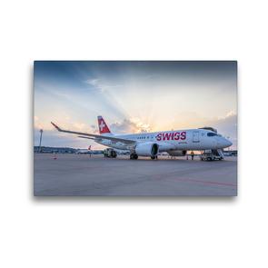 Premium Textil-Leinwand 45 x 30 cm Quer-Format Airbus A220, Swiss | Wandbild, HD-Bild auf Keilrahmen, Fertigbild auf hochwertigem Vlies, Leinwanddruck von aeroTELEGRAPH