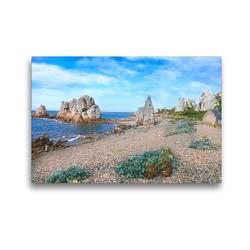 Premium Textil-Leinwand 45 x 30 cm Quer-Format An der Côte de Granit Rose   Wandbild, HD-Bild auf Keilrahmen, Fertigbild auf hochwertigem Vlies, Leinwanddruck von Christine B-B Müller