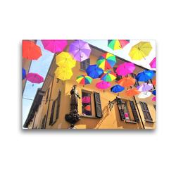 Premium Textil-Leinwand 45 x 30 cm Quer-Format Arona am Lago Maggiore: Regenschirme im Sonnenlicht   Wandbild, HD-Bild auf Keilrahmen, Fertigbild auf hochwertigem Vlies, Leinwanddruck von Christine Konkel