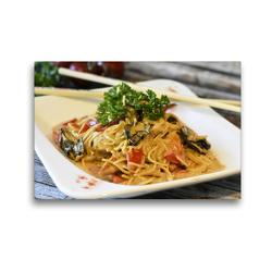 Premium Textil-Leinwand 45 x 30 cm Quer-Format Asiatisches Nudelgericht mit Pilzen | Wandbild, HD-Bild auf Keilrahmen, Fertigbild auf hochwertigem Vlies, Leinwanddruck von Rose Hurley