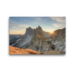 Premium Textil-Leinwand 45 x 30 cm Quer-Format Auf der Seceda in Südtirol | Wandbild, HD-Bild auf Keilrahmen, Fertigbild auf hochwertigem Vlies, Leinwanddruck von Michael Valjak